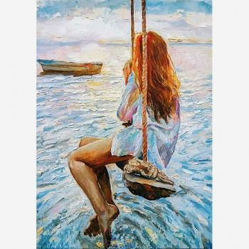 MINT dekupaaźipaber Girl On a Swing