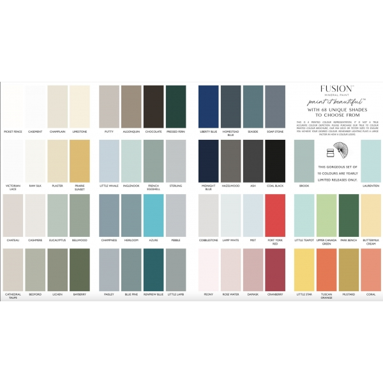 FUSION™ MINERAL PAINT prinditud  värvikaart